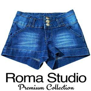 Roma Studio Dark Blue Denim Distressed Jean Shorts
